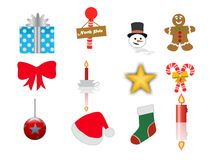 Christmas icons set 2 Stock Photos