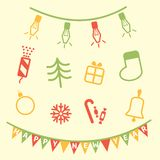 Christmas icons. Set of holiday Christmas icons Royalty Free Stock Images