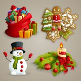 Christmas icons set. Christmas holiday decoration decorative icons set with gifts cookies snowman candle isolated vector illustration Stock Photography