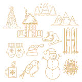 Christmas icons set. Holiday objects collection. Stock Photography