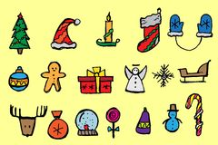 Christmas icons set. Holiday objects collection. Vector illustration royalty free illustration