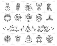 Christmas icons set, Holiday symbols, New Year icons. Chinese zodiac year of the dog 2018. Vector flat illustration. Christmas icons set, Holiday symbols, New Royalty Free Stock Photography