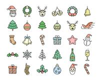 Christmas icons set. Christmas icon set. Linear colored vector icons for Merry Christmas and Happy New Year packages. Linear style Stock Photo