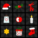 Christmas icons set,  illustrations, for web or mo Stock Photos