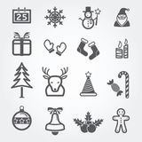 Christmas icons set isolated Royalty Free Stock Photography