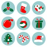 Christmas icons set. Isolated on a white background Royalty Free Stock Photography