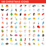 100 christmas icons set, isometric 3d style. 100 christmas icons set in isometric 3d style for any design vector illustration Stock Photo