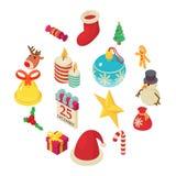 Christmas icons set, isometric style. Christmas icons set. Isometric illustration of 16 christmas vector icons for web Stock Photos