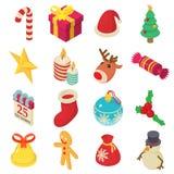 Christmas icons set, isometric style. Christmas icons set. Isometric illustration of 16 christmas vector icons for web Stock Photography