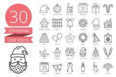 30 Christmas Icons. Set of 30 Christmas line icons Stock Photos