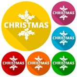 Christmas icons set with long shadow Royalty Free Stock Photo