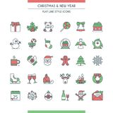 Christmas icons set. Modern flat line icons on theme new year and christmas Royalty Free Stock Image
