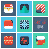 Christmas icons set. New Year icons set. Stock Photos