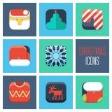 Christmas icons set. New Year icons set. Stock Photos
