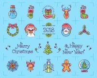 Christmas icons set, New Year symbols. Chinese zodiac year of the dog 2018. Christmas icons set, New Year symbols. Chinese zodiac year of the dog 2018, Vector Royalty Free Stock Images
