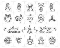 Christmas icons set, New Year  symbols. Holiday vector elements. Christmas icons set, New Year  symbols. Celebration Black thin line logo. Holiday decoration Royalty Free Stock Images