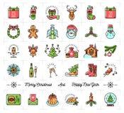 Christmas icons set, New Year symbols, Winter Holiday decoration elements Royalty Free Stock Photos