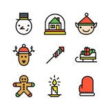 Christmas Icons. Set of nine colored outline icons for Christmas with snowman head, snow globe with house, elf and deer head, rocket, sleigh with gifts, ginger Stock Images