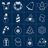 Christmas icons set outline royalty free illustration