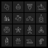 Christmas icons set outline Stock Images