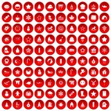 100 christmas icons set red. 100 christmas icons set in red circle isolated on white vector illustration Royalty Free Illustration