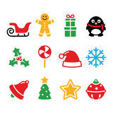 Christmas icons set - Santa, xmas tree, present Stock Photos