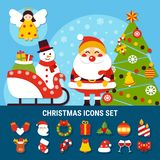 Christmas Icons Set. Set of christmas icons with year tree, snowman on sleigh, angel, santa, holiday decorations isolated vector illustration stock illustration