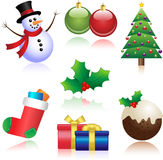 Christmas Icons. A Set of Shiny Christmas Icons with Reflections Royalty Free Stock Photography