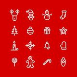 Christmas icons set simple flat style vector illustration.  Royalty Free Illustration