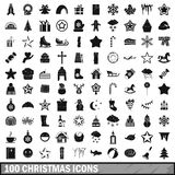 100 christmas icons set, simple style. 100 christmas icons set in simple style for any design vector illustration Stock Photos
