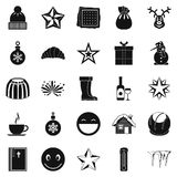 Christmas icons set, simple style Stock Photography