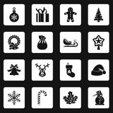 Christmas icons set squares vector Royalty Free Stock Images