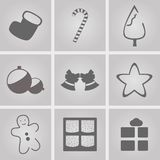 Christmas Icons. Set of icons on a theme Merry Christmas Stock Images