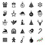 Christmas icons set. 25 Vector Christmas Icons, december holidays. Black on a white background Royalty Free Stock Photos