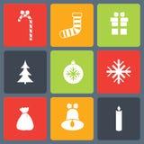 Christmas icons set. Vector illustration of flat christmas icons set Stock Photography