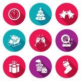 Christmas Icons Set. Vector Illustration. Isolated Flat Icons collection on a color background for design Stock Photo