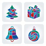 Christmas icons set. Set of 4 vector Christmas mosaic icons stock illustration