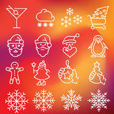 Christmas icons set. Vector thin line icons set for web design and user interface in applications made in flat graphic style. Nice detail and easily identifiable Royalty Free Stock Images