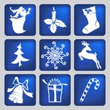 Christmas icons silhouettes Stock Photography