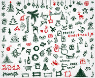 Christmas icons, sketch drawing for your design Stock Photos