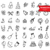 Christmas icons, sketch drawing for your design Stock Photography