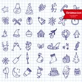 Christmas icons, sketch drawing for your design Royalty Free Stock Image