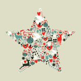 Christmas icons star shape Stock Photos