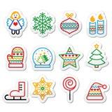 Christmas icons with stroke - Xmas tree, angel, snowflake. Vector black icons set for celebrating Xmas isolated on white Stock Photo