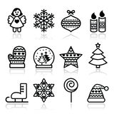 Christmas icons with stroke - Xmas tree, angel, snowflake. Vector black icons set for celebrating Xmas  on white Royalty Free Stock Photography