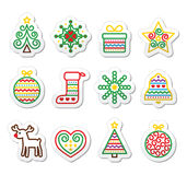Christmas icons with stroke - Xmas tree, present, reindeer Royalty Free Stock Images