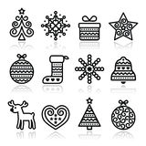 Christmas icons with stroke - Xmas tree, present, reindeer Royalty Free Stock Photos
