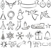 Christmas icons and symbols - vector set Royalty Free Stock Photos