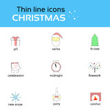 Christmas Icons Thin Line Set Collection. Vector Illustration Royalty Free Stock Photos