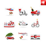 Christmas icons transport, delivey and presents Stock Photography